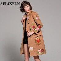 2017 Warm Coat Winter Fashion New Women Overcoat Flower Lapel Long Sleeve Camel Slim Vintage Long