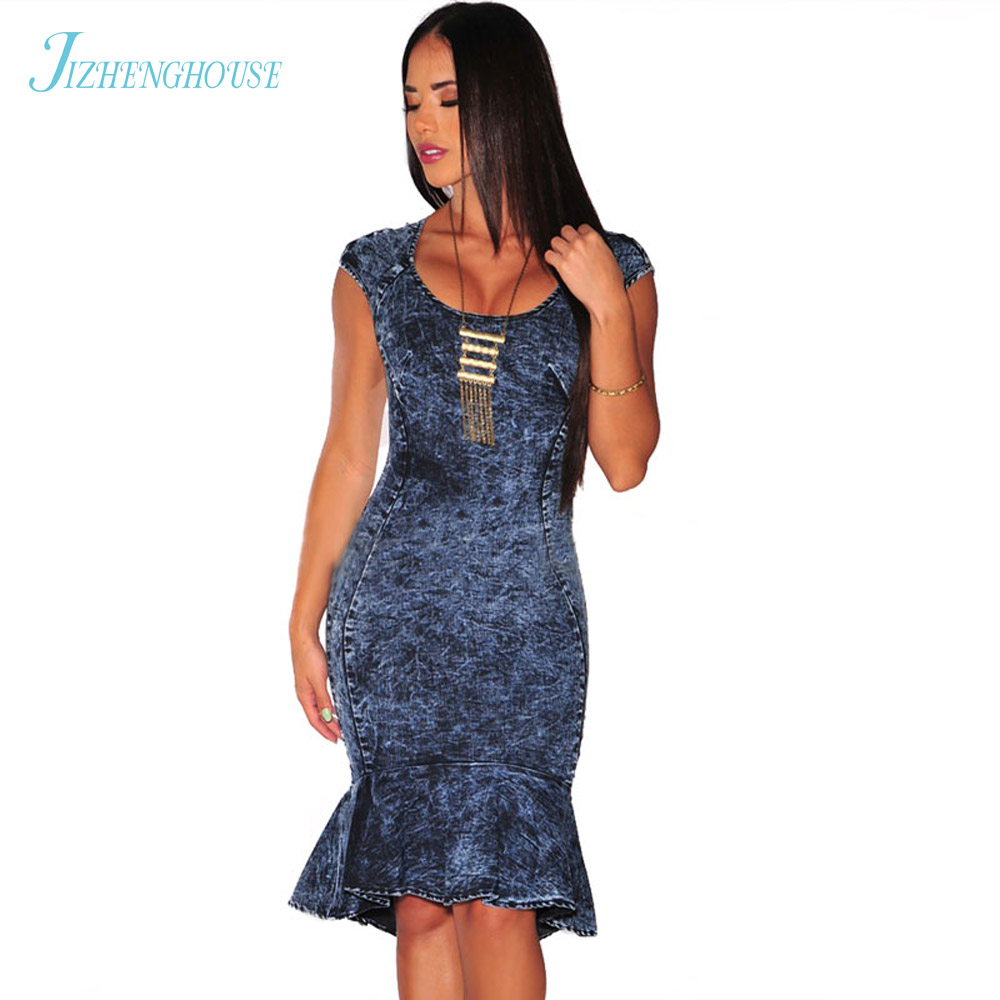 JIZHENGHOUSE Womens Ruffle Denim Dress 2018 Women Knee Length Dress Short Sleeve O Neck Bandage Dresses Sexy Ladies Vestidos