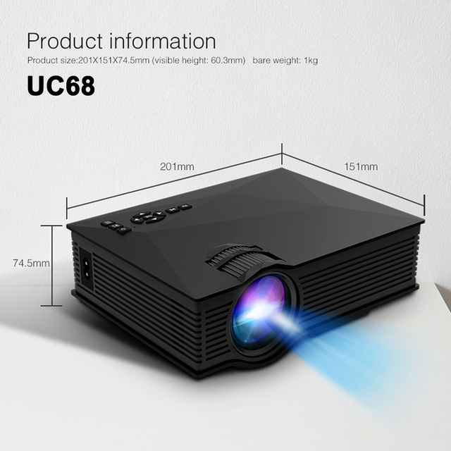Original UNIC UC68 UC68H Portable LED Projector 1800 Lumens 80 110 ANSI HD 1080p Full HD Video Projector Beamer for Home Cinema