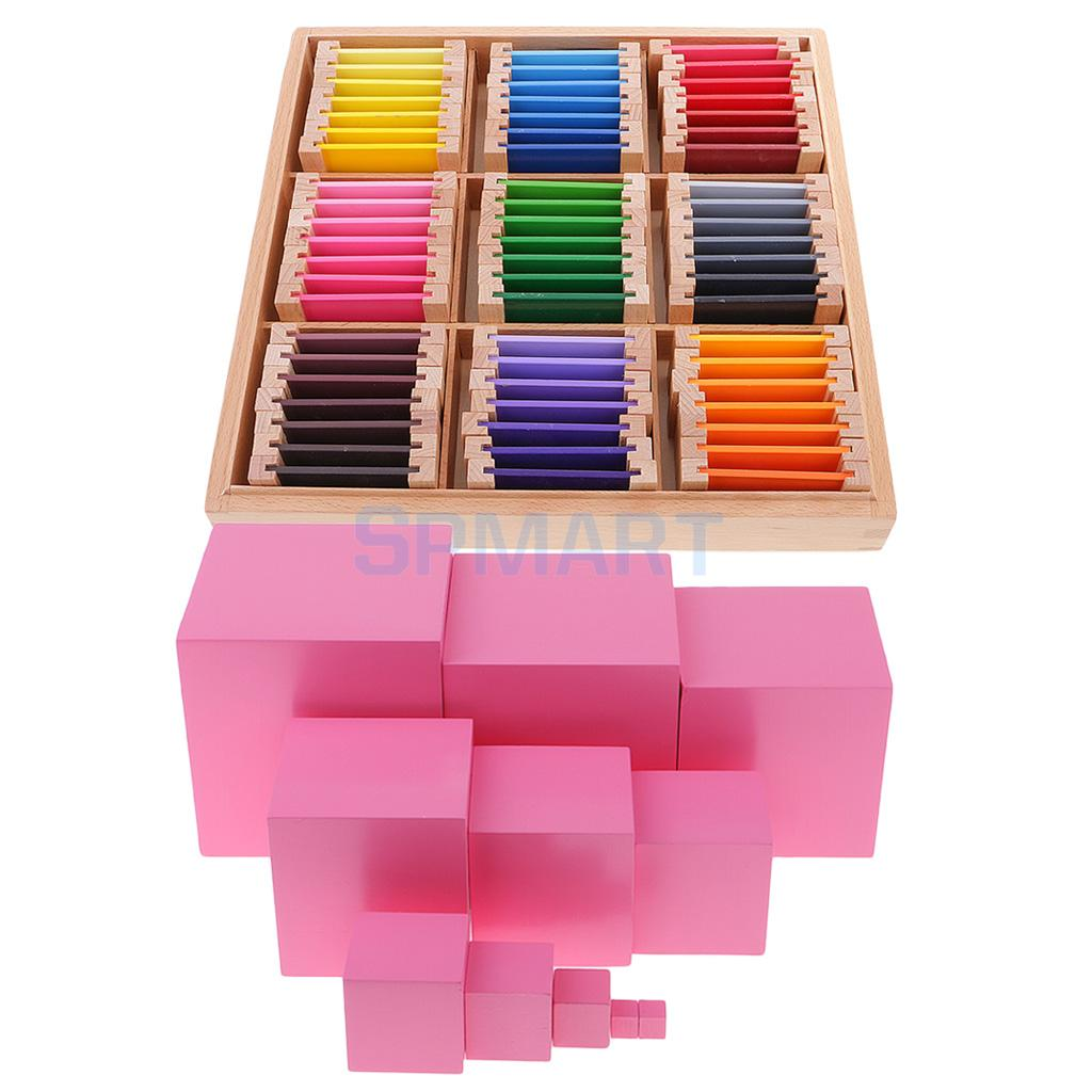 Montessori Wooden Building Pink Tower Blocks + Color Learning Box for Kids Educational Toy wooden educational toys 100pcs montessori kids toy 1 3 6 intelligent wooden building blocks for children preschool brinquedos