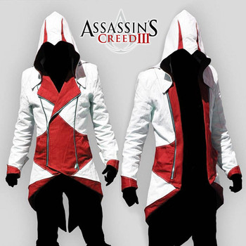 Assassins Creed Costume Cosplay Conner Kenway Hoodie Jacket Tracksuit Novelty Sweatshirt Hoody Plus Size Cloak Jacket Men