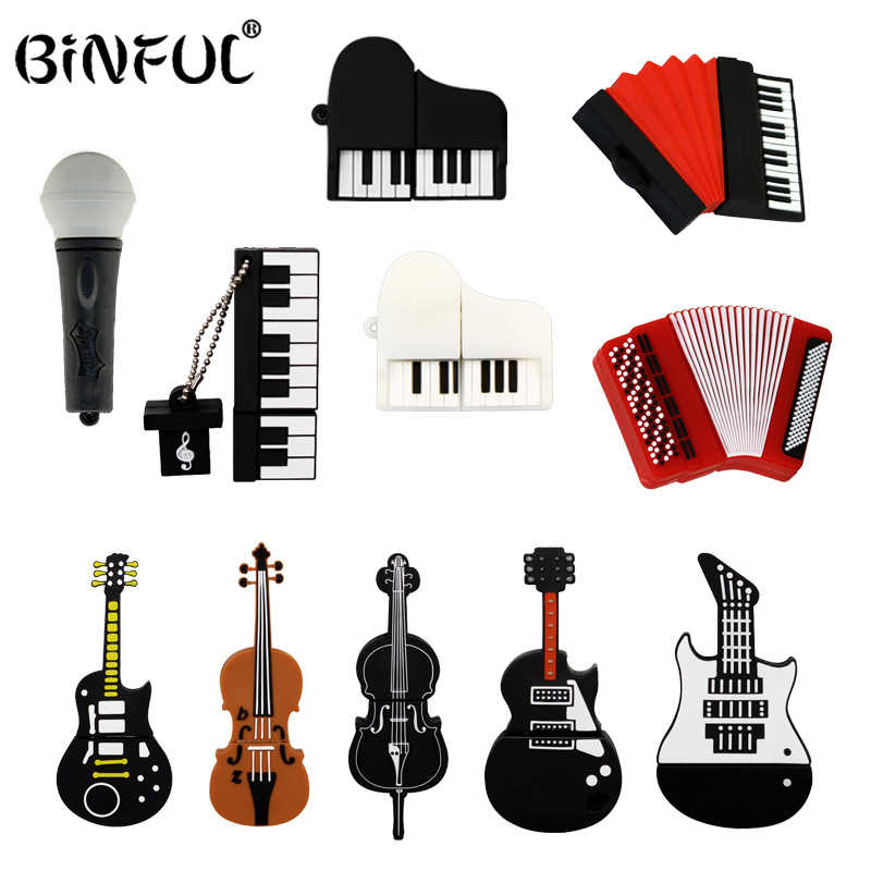 Alat Musik Model Pen Drive 4 GB 8 Gb 16 GB 32 GB 64 GB USB Flash Drive Mikrofon/ PIANO/Biola/Gitar Flashdisk Memori Flash