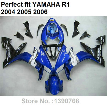 High quality ABS fairing for Yamaha injection mold YZF R1 04 05 06 blue black fairings kit YZFR1 2004 2005 2006 LV27
