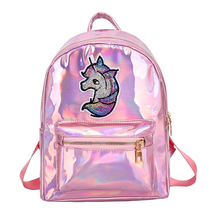 Cute Pony Backpack For Girls Teenagers School Bag Mirror Reflective Laser Women Backpack Holographic Backpack Shining Rucksack
