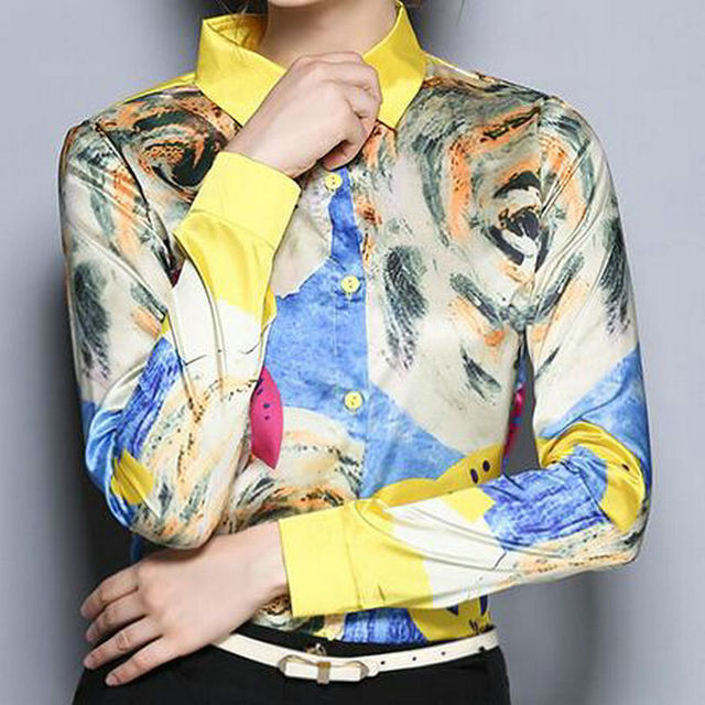 76074d2dbe 2016 New Design Women s Shirt Top Blusas Pint Pattern Abstract Yellow  Fashion Trendy Fabric Satin Women