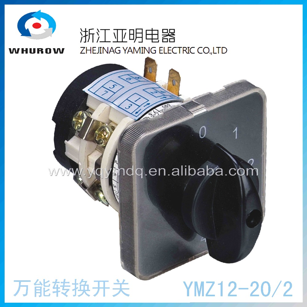 Rotary switch knob 5 position 0-4 YMZ12-20/2 universal manual electrical changeover cam switch 20A 690V 2 section high quality 660v ui 10a ith 8 terminals rotary cam universal changeover combination switch