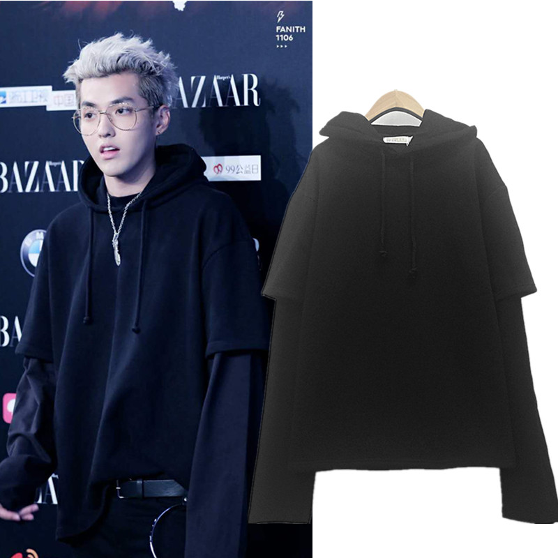 kpop EXO Kris Wu Yifan same autumn winter Plus velvet hooded loose fake two-piece men women hoodies 2018 korean sweatshirts