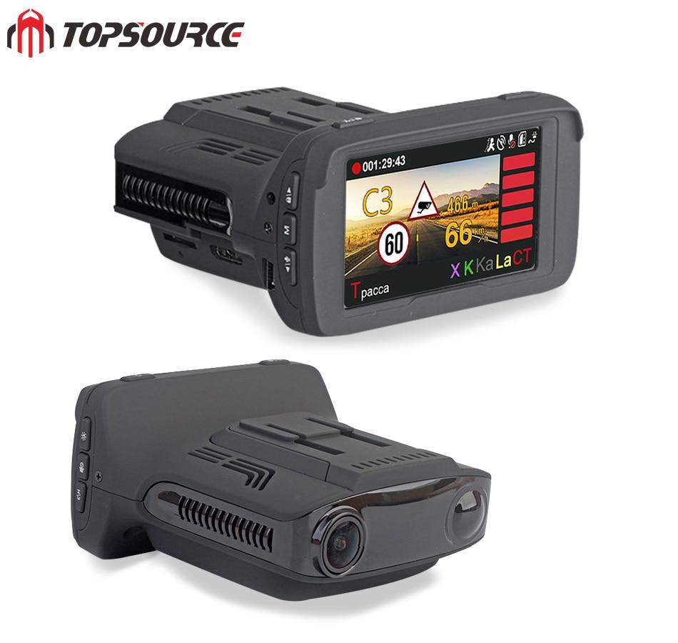 TOPSOURCE Auto DVR Camear Radar Detector GPS 3 in 1 Ambarella Auto-detector HD 1080 P Recorder Griffier Anti Radar Dashcam WDR ...
