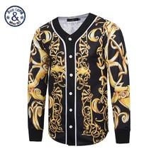 2017 Mr.BaoLong&Miss.GO New Design Baroque Style Men baseball jersey Hip Hop versa 3D Print Gold Flower Men's Outwear Cardigan