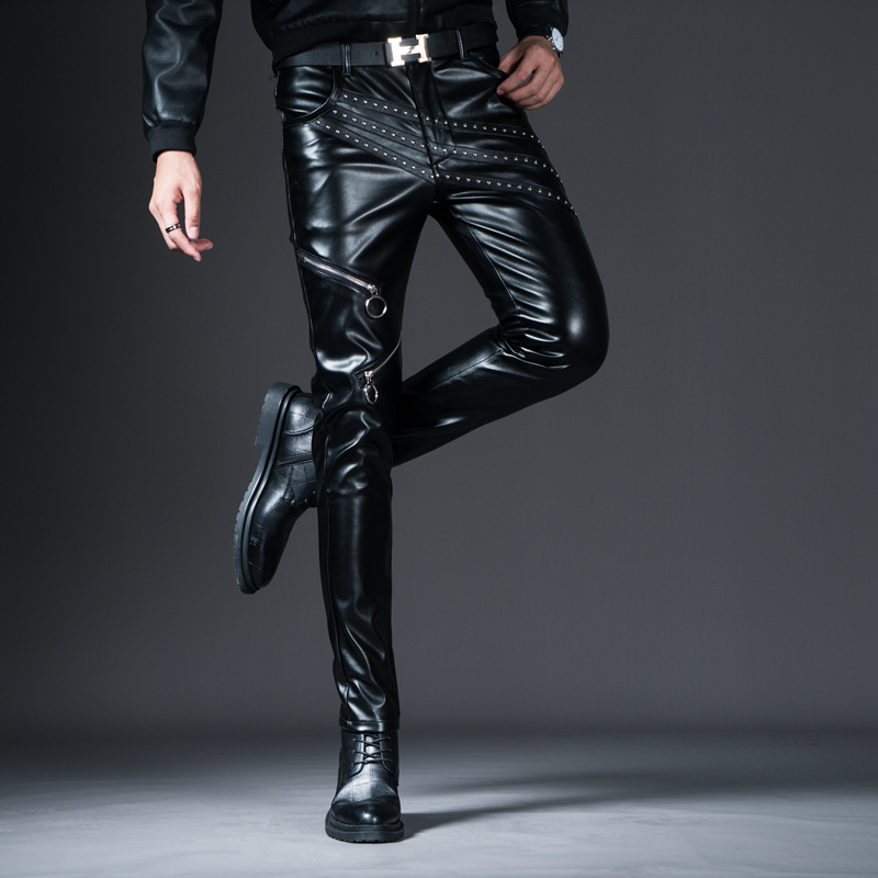 New Winter Spring Men's Skinny Leather Pants Fashion Faux Leather Trousers For Male Trouser Stage Club Wear Biker Pants 31
