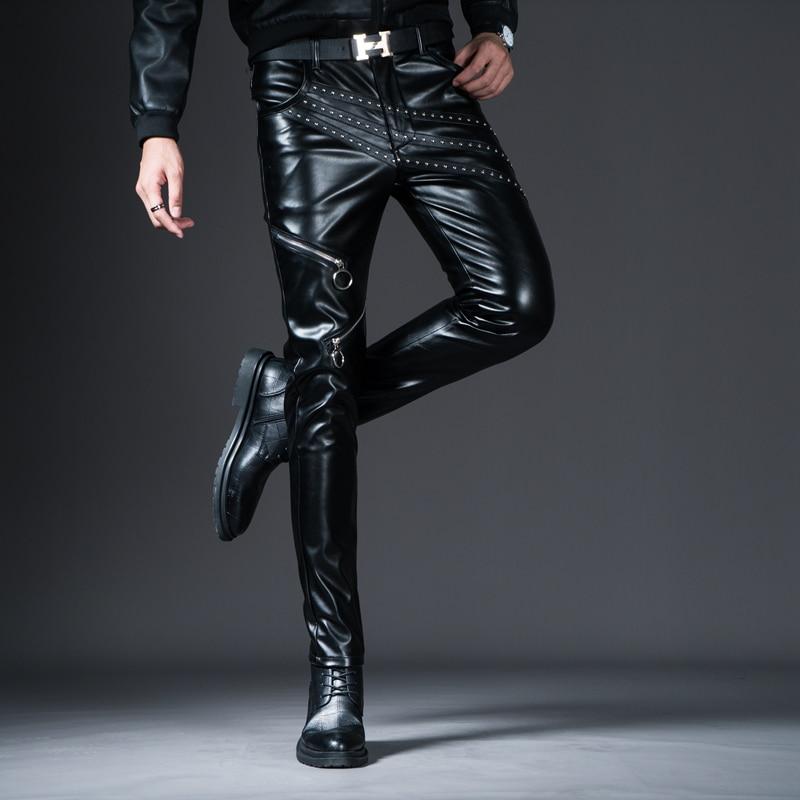 HTB1kjtaX5HrK1Rjy0Flq6AsaFXaJ New Winter Spring Men's Skinny Leather Pants Fashion Faux Leather Trousers For Male Trouser Stage Club Wear Biker Pants