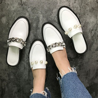 Boldees Trendy Leather Chains Slippers Women Pearl Rivet Metal Chain Flats in White Black Fashion Girls Street Wear Loafers Hot