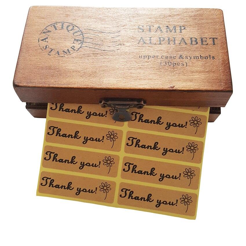 "Купить с кэшбэком 100pcs/lot ""Thank you""self adhesive vintage stickers kraft label sticker DIY homemade for gift cake baking sealing sticker"