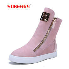 SUBERRY Handmade Black Pink Zipper Russia Warm Boots Women's Fashion Sheepskin Snow Boots With Metal Decoration Free Shipping