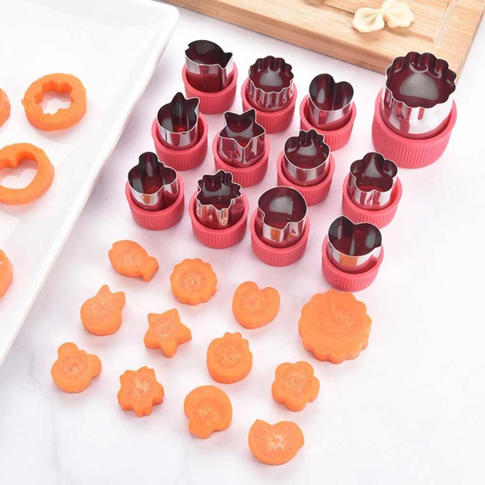 12 ピース/セット DIY 野菜果物カッター金型ステンレス鋼の花のスターハート動物ケーキクッキービスケット切断金型 @ Q