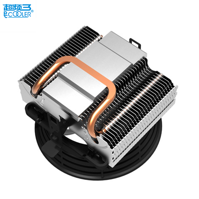 Pccooler V2 pure copper heatpipes silent 10cm 100mm cpu fan for AMD/Intel 775 1150 1156 1155 cpu cooler cooling radiator fan 2 heatpipes blue led cpu cooling fan 4pin 120mm cpu cooler fan radiator aluminum heatsink for lga 1155 1156 1150 775 amd