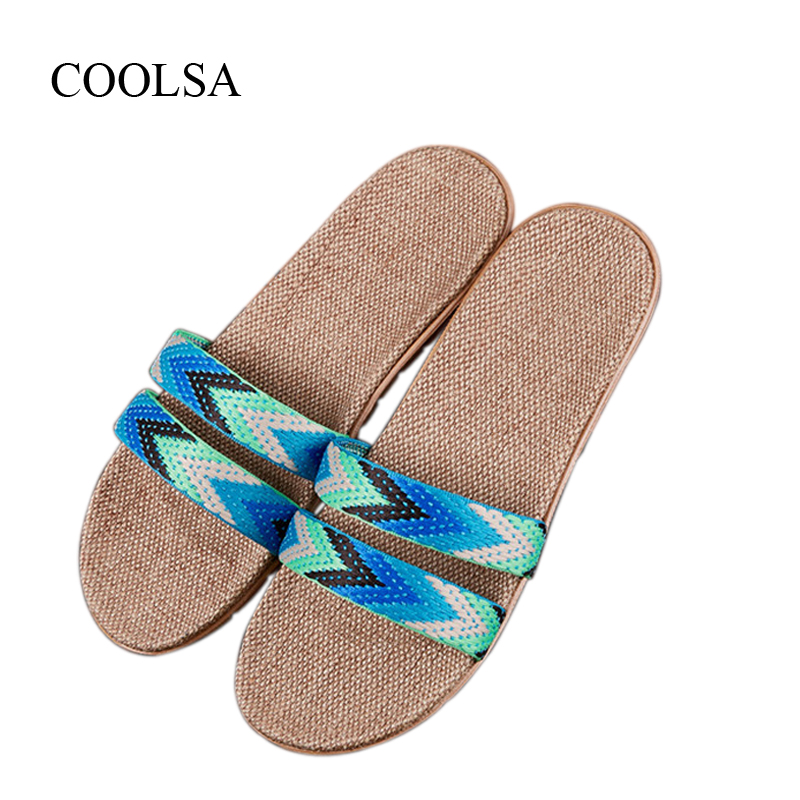 COOLSA Women's Summer Linen Slippers Women Hemp Slides Women's Flax Slippers Breathable Non-slip Fashion Indoor Flat Slippers coolsa women s summer flat non slip linen slippers indoor breathable flip flops women s brand stripe flax slippers women slides