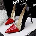 Bombas de las mujeres 2016 del Fasion de san valentín de La Boda Negro zapatos de Punta estrecha Sexy Thin Tacones Altos Zapatos de Las Mujeres