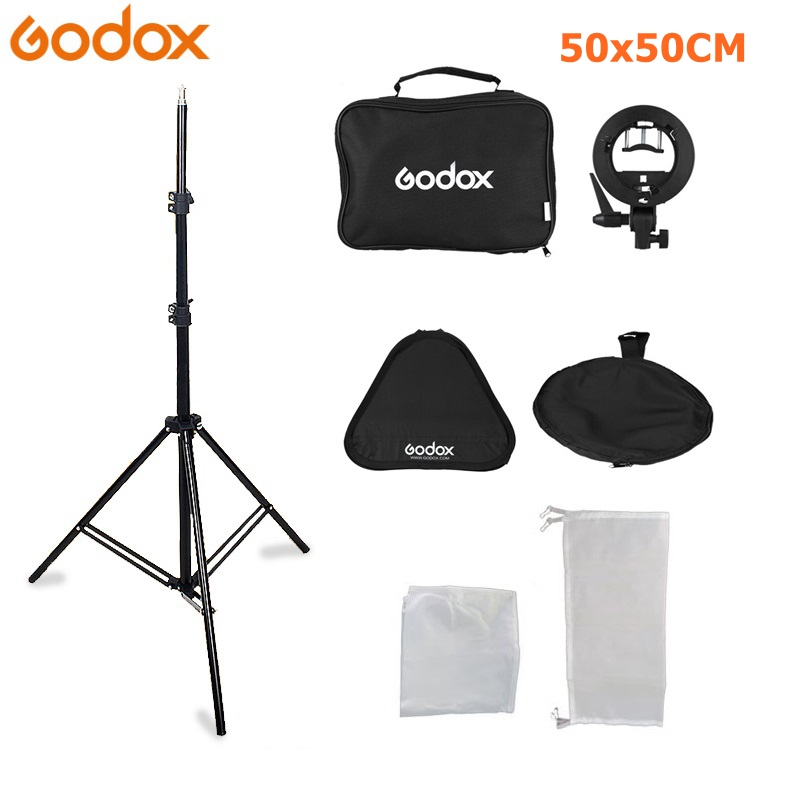 Godox 50 x 50cm Flash Speedlite Softbox S type Bracket Bowens Mount Kit with 2m Light
