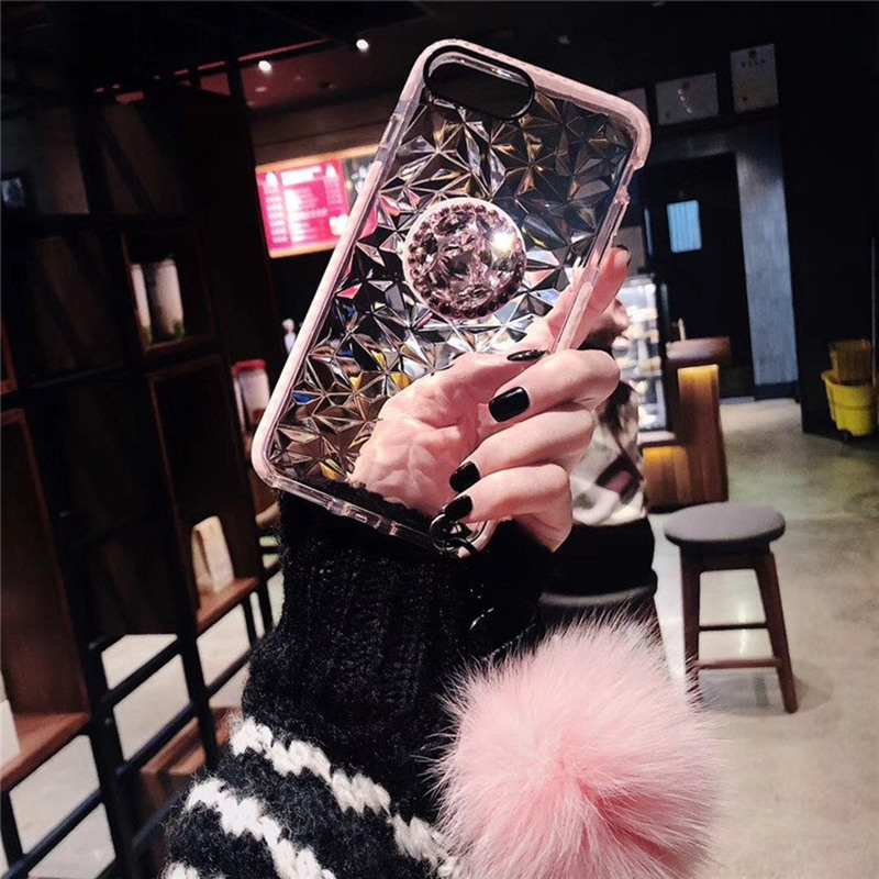 Luxury diamond cute hair ball lanyard bracket soft case for iphone 7 X XR XS 11 pro MAX 8 6S plus for samsung S10 S8 S9 Note A50
