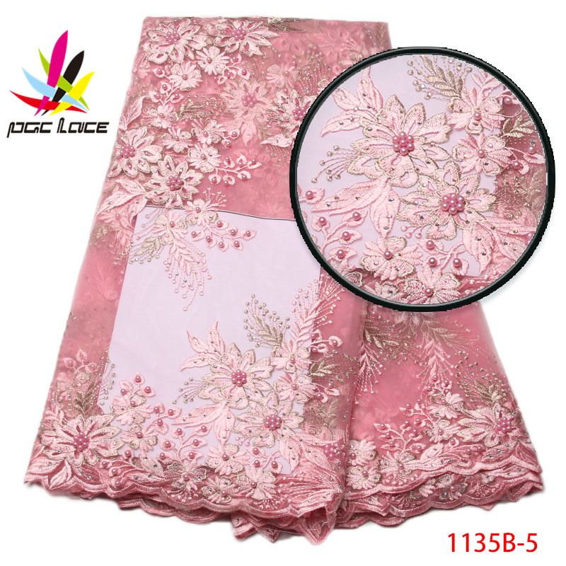 2017 African Lace Fabric With Bead And Stones Mesh Lace Embroidered High Quality Nigerian Lace For