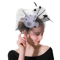 Элегантные женские свадебные перо для головного убора черный головные уборы с узором в горошек фантазии белый сетки заколки вечерние