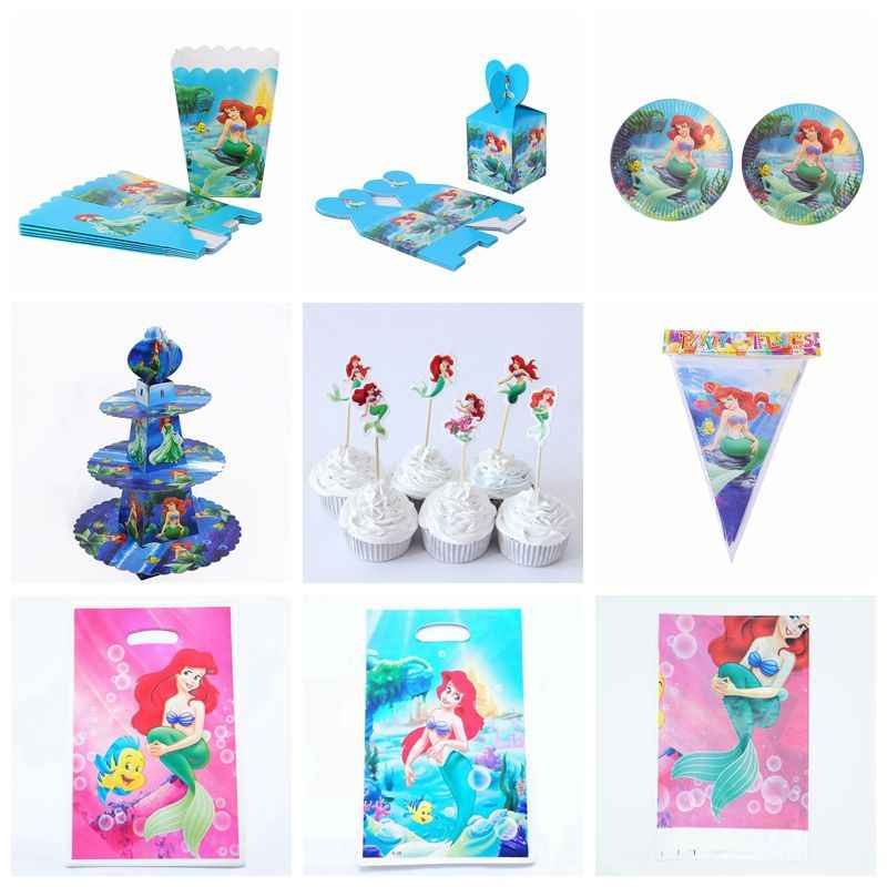 Pretty Mermaid Ariel Party Decor Girls Birthday Latex Balloon Tableware Paper Plate Table Cloth Candy Box Happy Birthday Gift