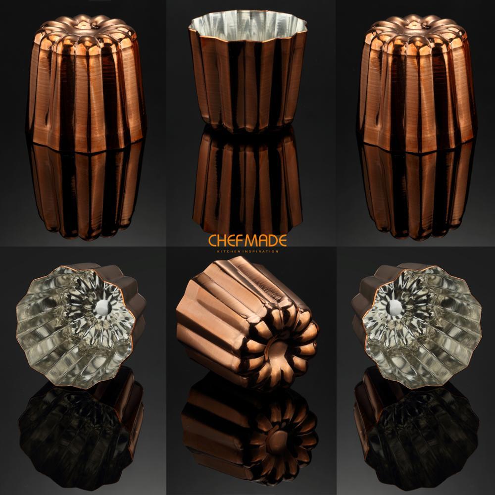 Moule à Canele en cuivre CHEFMADE 6 pièces, tasse à muffins Cannele de 2 pouces, intérieur étamé approuvé par la FDA fabriqué en italie
