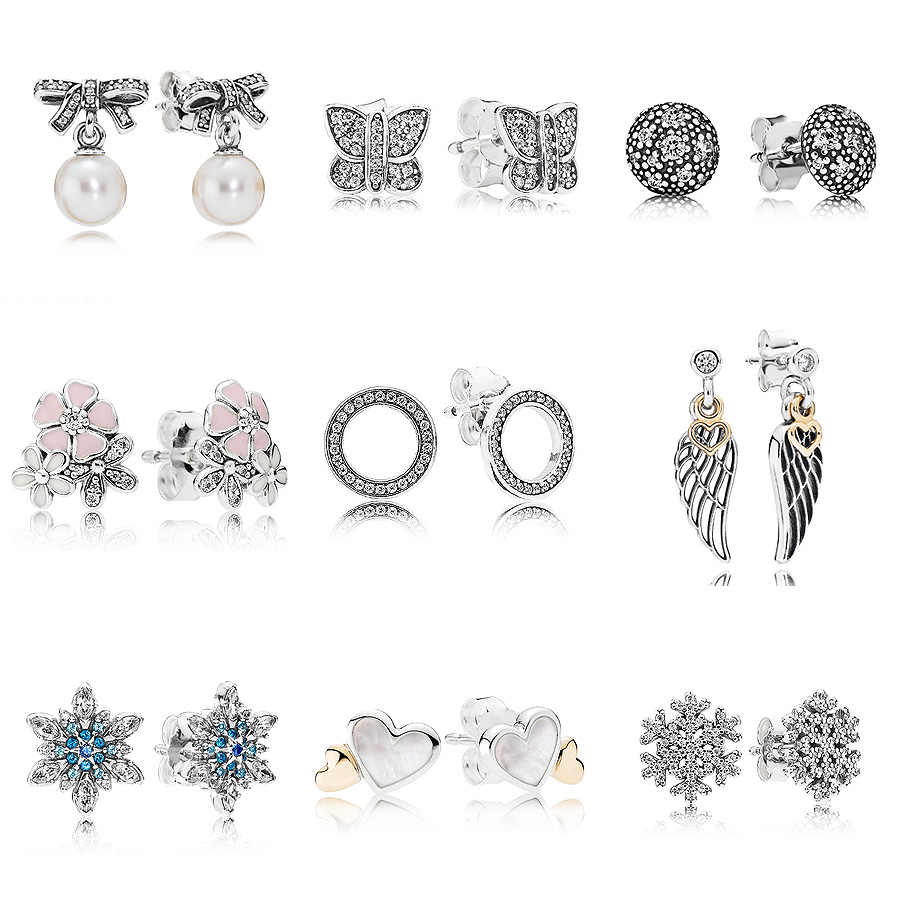 b0866cb37 Forever Love Poetic Blooms With Crystal 925 Sterling Silver Earrings Studs  For Women Wedding Party Gift