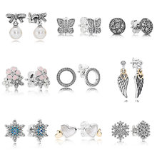 Forever Love Poetic Blooms With Crystal 925 Sterling Silver Earrings Studs  For Women Wedding Party Gift Pandora DIY Jewelry