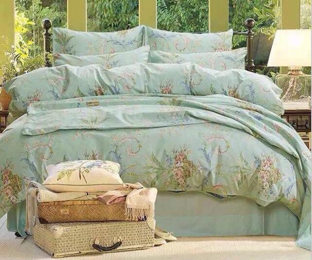 Good Quailty Grace Blue Egyptian 100 Cotton Luxury Bedding Sets Queen King Size Duvet Covers
