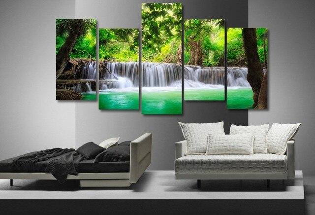 amazing waterfall lake 5 panel hd canvas prints painting wall art