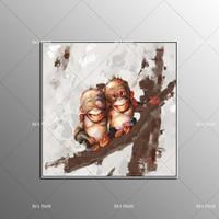 Украсить Книги по искусству ручной работы Обезьяна картина маслом на холсте Гостиная Домашний Декор стены Картины маленьких гориллы фотог...