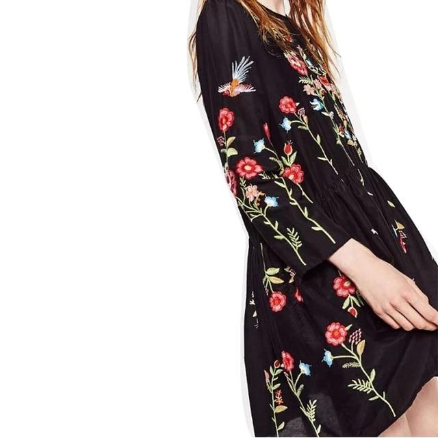 ZA Floral Embroidery Dress Newest 2016 Fashion Brand O-neck Long Sleeve Plus Size  Women Vintage Black Autumn  Dresses