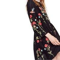Za çiçek nakış dress yeni 2016 moda marka o-boyun uzun kollu artı boyutu kadınlar vintage siyah sonbahar elbiseler