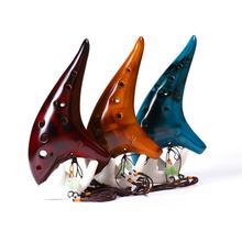 SLADE 12 Hole Ceramic Ocarina Alto C Tone Classic Flute Zelda Instruments with Protection Bag + Lanyard Gift