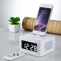 LCD Digital FM Radio Alarm Clock Portable Bluetooth Loudspeaker Charger Dock Station For Iphone 5 5s