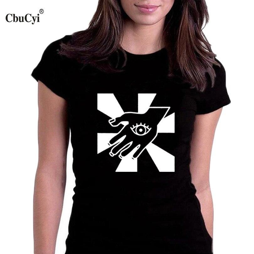 Cbucyi magic hamsa hand t shirt femmes black white graphic for Full hand t shirts for womens