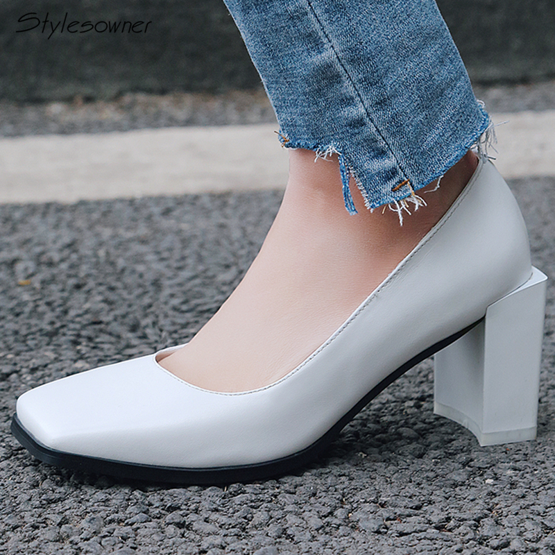 Stylesowner 2018 Summer Square Toe Chunky Heels Single Shoes Slip On Sexy Women Wedding High Heel Pumps White Shallow Lady Pumps stylesowner pearl decor chunky high heel peep toe women sandals for summer crystal buckle rivet beaded runway lady shoes pumps