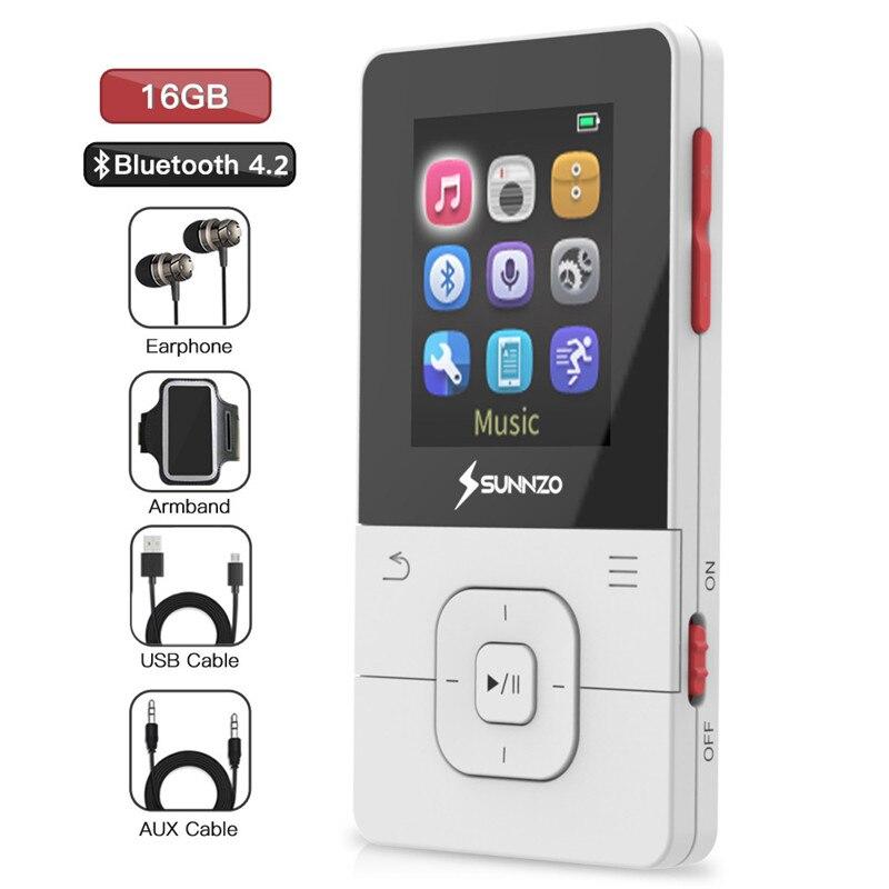 Lecteur MP3 Bluetooth 16 GB HiFi lecteur de musique MP3 numérique sans perte Portable MP3 enregistreur vocal numérique FM Radio podomètre