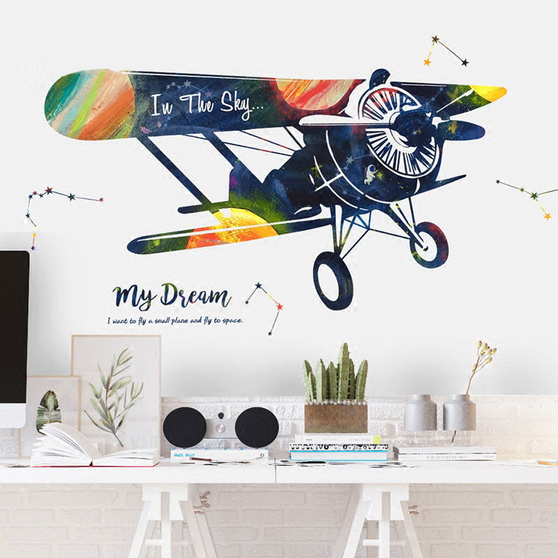 Cartoon Airplane Wall Sticker Self-Adhesive Bedroom Bedside Decoration Wall Stickers For Kids Rooms 3D Wall Decals image