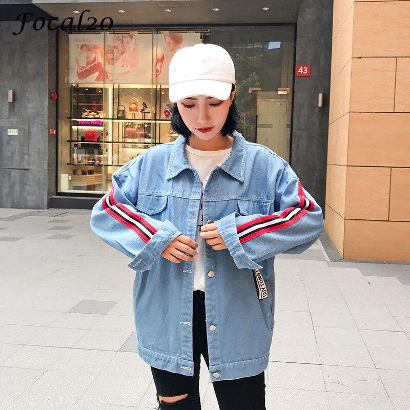 Focal20 Streetwear Stripe Patch Ribbon Women Jacket Jeans Pockets Turn Down Collar Button Denim Jacket Coat Outwear 1