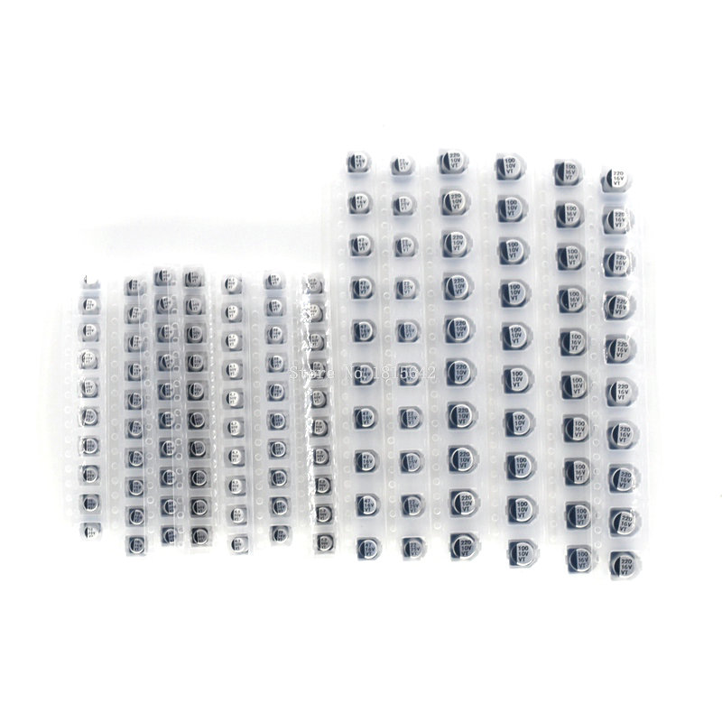130PCS/LOT 1uF-220uF SMD Aluminum Electrolytic Capacitor Assorted Kit Set, 13values*10pcs=130pcs Samples Kit