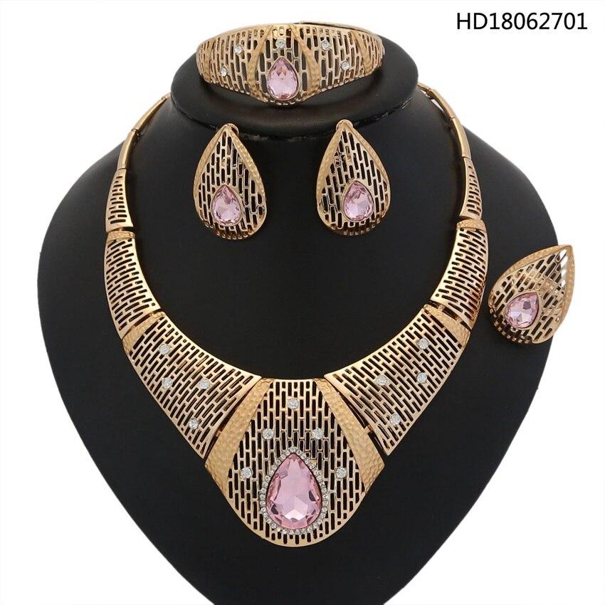 YULAILI 2018 nouveau collier de mode nigérian mariage perles africaines ensembles de bijoux de haute qualité couleur or accessoires