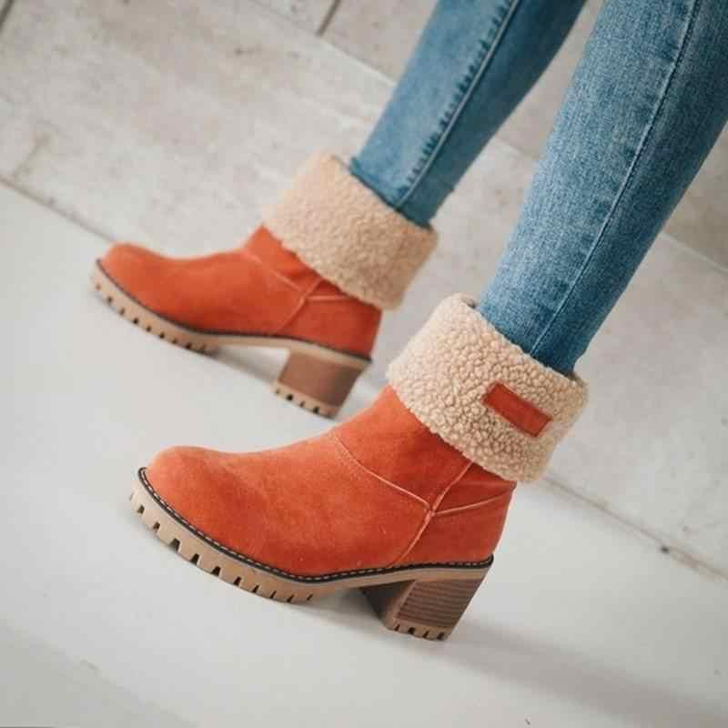 2019 yeni kadın çizmeler orta buzağı botlar yüksek su geçirmez bayanlar kar kış ayakkabı kadın peluş astarı Botas ofis seyahat ayakkabısı