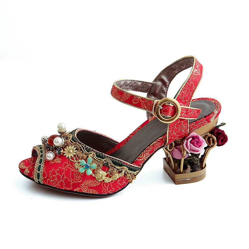 Phoentin Chinese red crystal wedding sandals for ladies string bead 2019 flower metal heels buckle strap women sandals FT467-in High Heels from Shoes    2