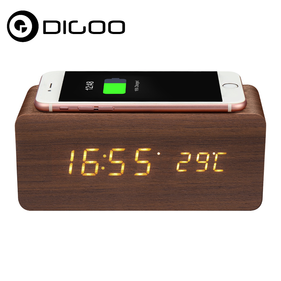 Digoo DG-AC80 Wireless charging Wooden Clock Tempreture Weather Station LED Display Voice Control Alarm Clocks for Smartphone digoo dg bb 2hc durable double head 30cm usb charging power cable for dg mx10 tws wireless waterproof speaker parts