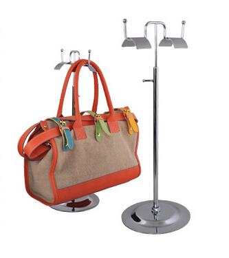 Double Sides Handbag Stand <font><b>Display</b></font> with silvery Surface Metal Adjustable Height Handbag hook <font><b>Display</b></font> Rack bag holder standing