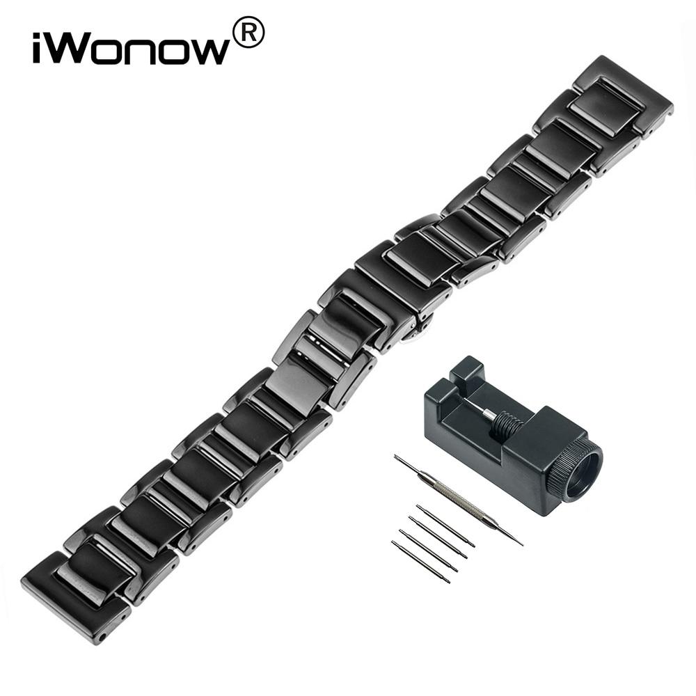 Full Ceramic Watch Band + Link Remover for Omega Mido Longines Tissot Butterfly Buckle Strap Wrist Belt Bracelet 16mm 18mm 20mm