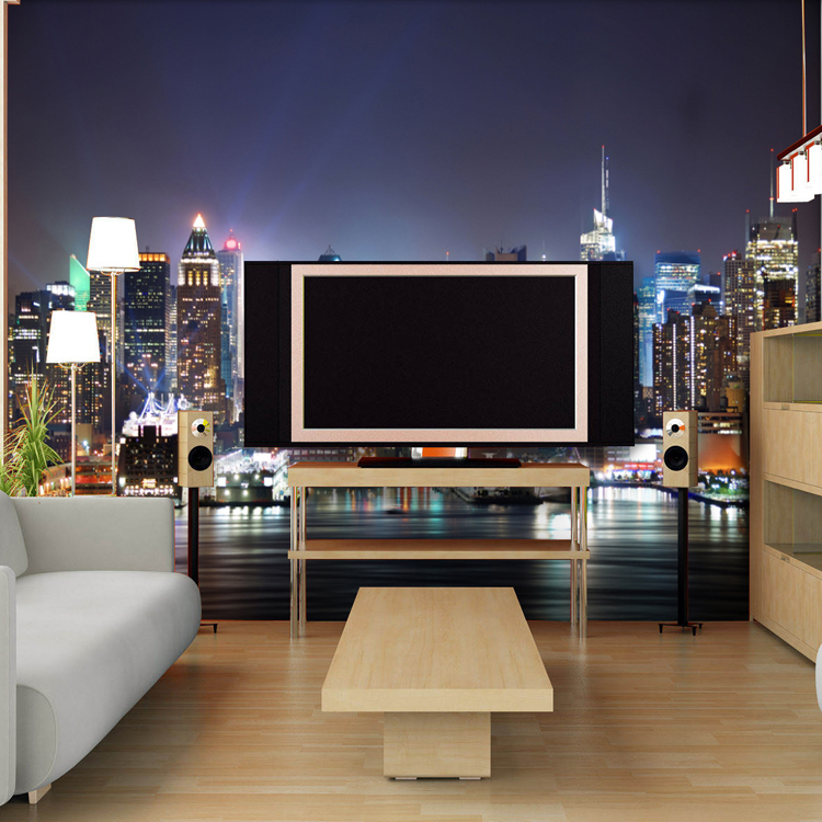 Custom Photo D Stereoscopic City Lights Mural Wallpaper Bedroom - City lights wallpaper for bedroom